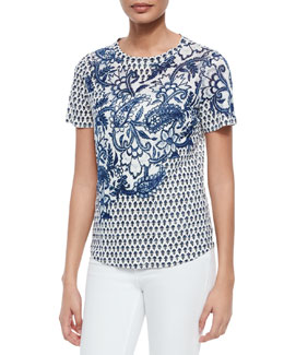 English Paisley-Print Tee, Tanzanite