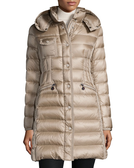 Hermine Hooded Long Puffer Coat by Moncler