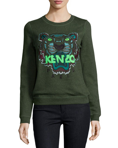 Iconic Tiger Cotton Pullover Sweatshirt, Dark Khaki