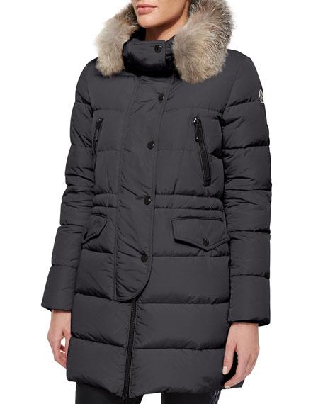 Moncler Armoise Fur Trim Coat