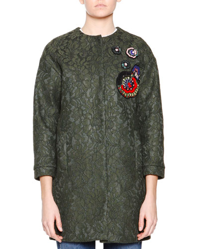 3/4-Sleeve Lace Coat W/ Beaded Applique