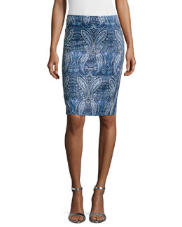 Paisley-Print Pencil Skirt