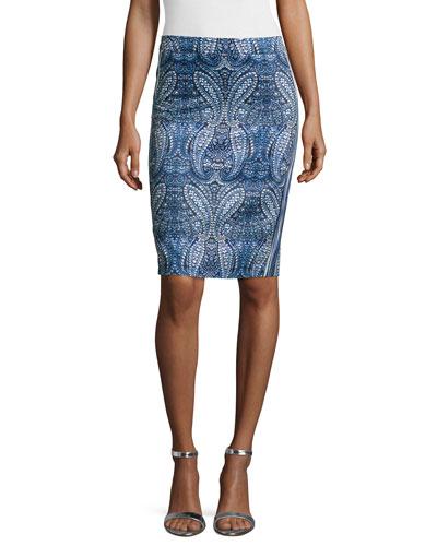 Paisley-Print Pencil Skirt