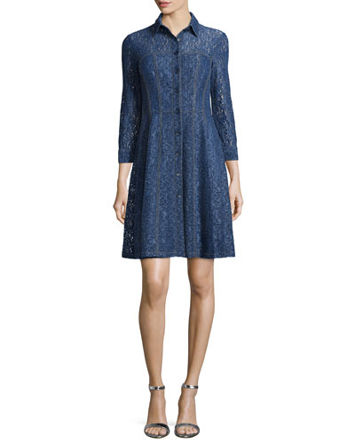 Button-Front Lace Shirtdress