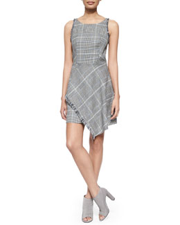 Plaid Tank Dress with Uneven Fringe Hem