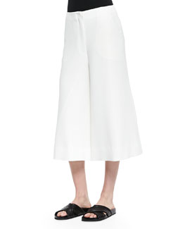 Presli Cropped Wide-Leg Pants, Ivory