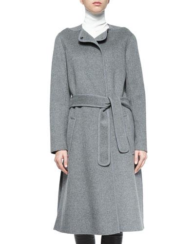 Wool-Blend Belted Car Coat