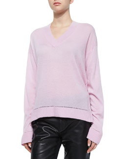 Long-Sleeve Cashmere Pointelle-Trim Sweater