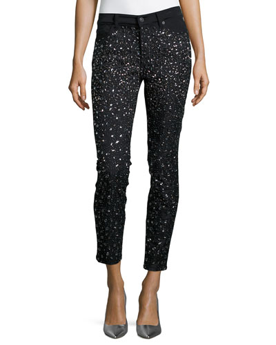 Ombre-Crystal Skinny Jeans, Black