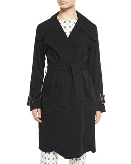 Engels Belted Trench Coat, Black