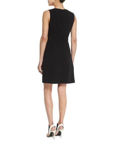 Jacobson V-Neck Fit-and-Flare Dress, Black
