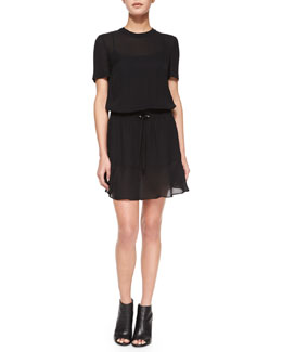 Charlotte Silk Tie-Waist Dress, Black