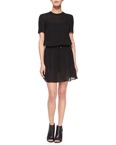Charlotte Silk Tie-Waist Dress, Black