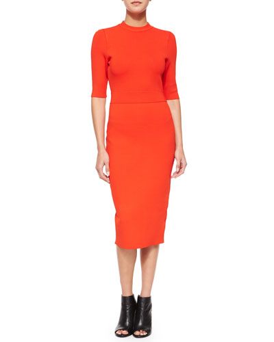 Scoppa Cutout-Back Sheath Dress, Rouge