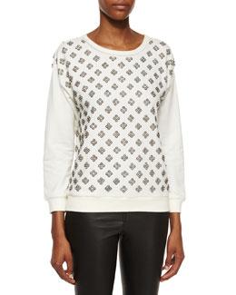 Drew Embellished-Front Sweatshirt