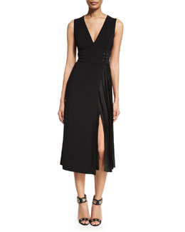 Warren Deep V-Neck Dress, Black