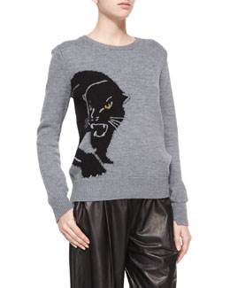Wool-Cashmere Panther Sweater