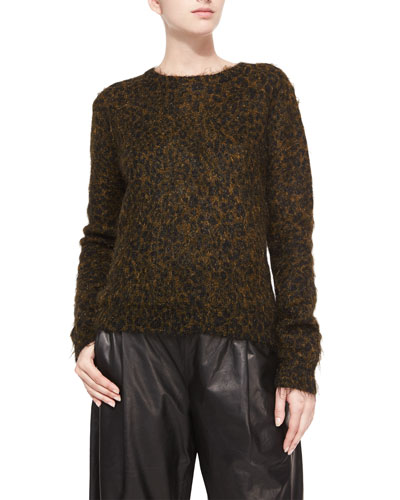 Boy Leopard-Print Metallic Mohair Sweater