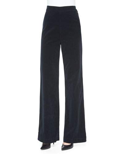 Laura High-Waist Wide-Leg Velvet Pants, Dark Night