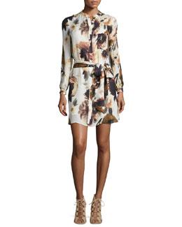 Floral-Print Silk Shirtdress, Desert Rose