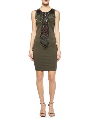 Geometric Embellished Sleeveless Dress, Military