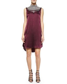 Embellished-Neck Silk Shift Dress, Fig