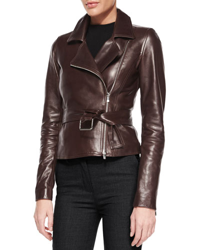 Burliny Tie-Waist Leather Jacket
