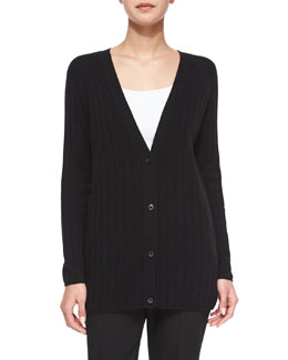Petrovina Ribbed Long-Sleeve Cardigan, Black