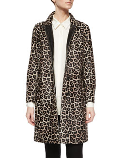Dafina Leopard-Print Leather Coat