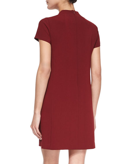 Jasneah Short-Sleeve Crepe Dress, Cherrywood