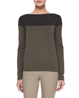 Kriselfa Everyday Striped Long-Sleeve Top, Black/Laurel