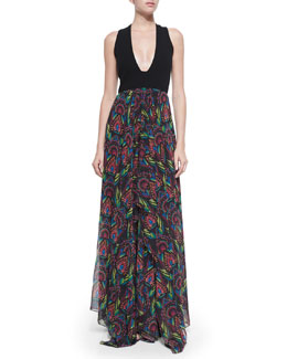 Cait Sleeveless Deco-Print Maxi Dress, Black/Multicolor