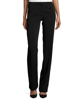 Slim-Fit Boot-Cut Crepe Pants, Black