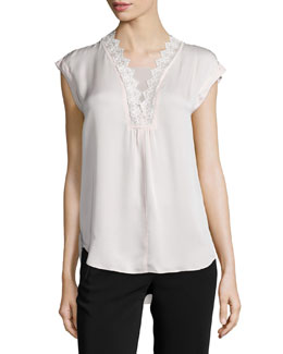 Cap-Sleeve Silk Georgette Lace-Trim Top, Malt Ball
