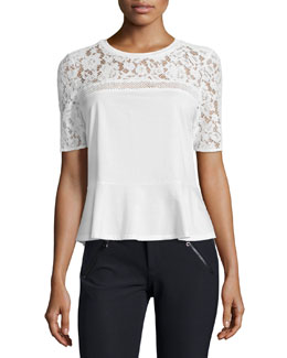 Lace-Trim Peplum Tee, Chalk
