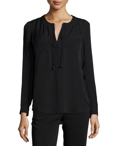 Long-Sleeve Sofia Silk Blouse, Black