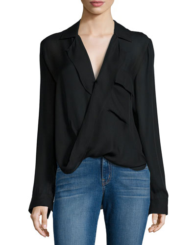 Lola Cross-Front Silk Blouse