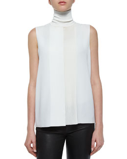 Laser-Cut Sleeveless Turtleneck Top