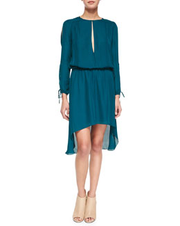 Long-Sleeve Keyhole-Front Dress, Blue Coral