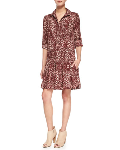 The Chloe Silk Shirtdress, Shadow Snake Merlot