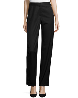Penelope Satin-Inset Pants, Black