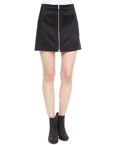 Nettie Zip-Front Skirt, Black