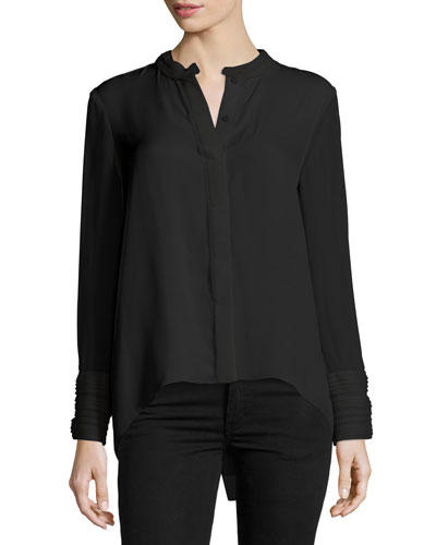 Alejandra Long-Sleeve Silk Blouse