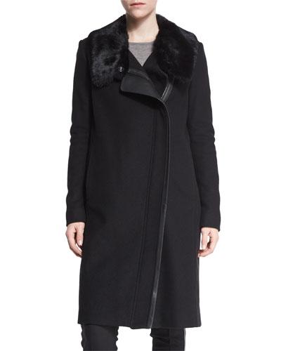Asymmetric Fur-Collar Coat