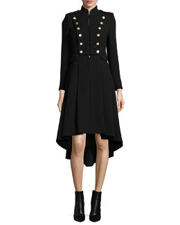 Rossi Long-Sleeve Military-Style Dress, Black