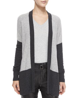 Colorblock Mixed-Knit Cardigan