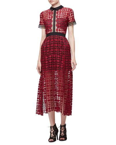 Short-Sleeve Guipure-Lace Midi Dress, Burgundy