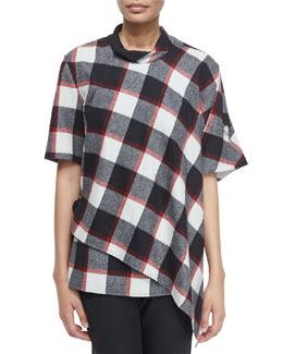 Asymmetric Check Top with Utility Strap