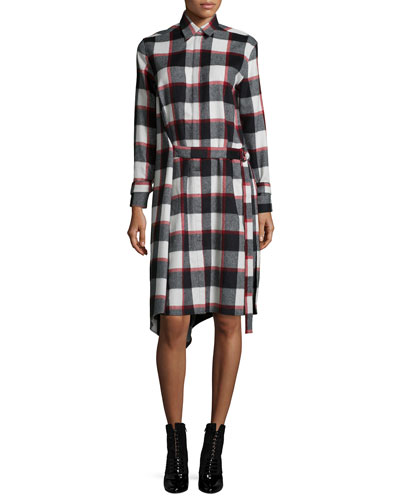 Plaid Belted Asymmetric Shirtdress, Ruby/Black