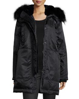 Fabunni Bomber Tech Coat W/Fur Trim
